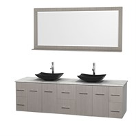 "Centra 80"" Double Bathroom Vanity for Vessel Sinks by Wyndham Collection - Gray Oak WC-WHE009-80-DBL-VAN-GRO_"