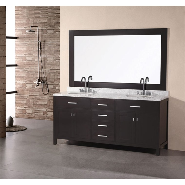 "Design Element London 72"" Double Bathroom Vanity with White Carrera Countertop, Sinks and Mirror - Espresso DEC076B"