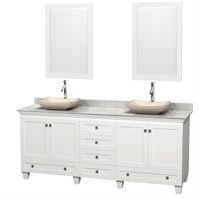 "Acclaim 80"" Double Bathroom Vanity for Vessel Sinks by Wyndham Collection - White WC-CG8000-80-DBL-VAN-WHT"