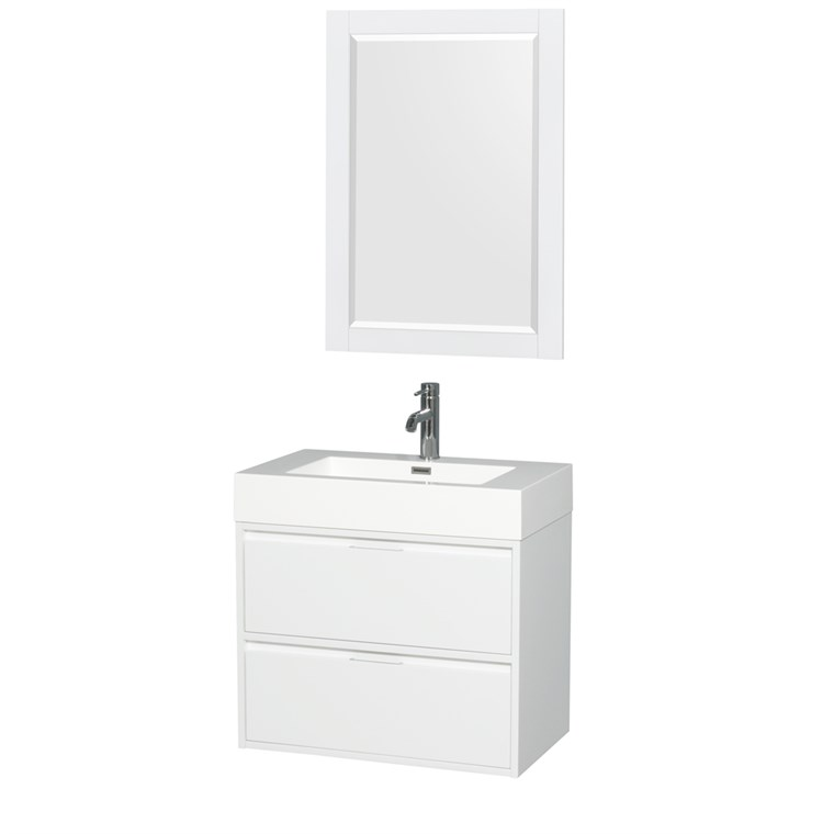 "Daniella 30"" Wall-Mounted Bathroom Vanity Set With Integrated Sink by Wyndham Collection - Glossy White WC-R4600-30-VAN-WHT"