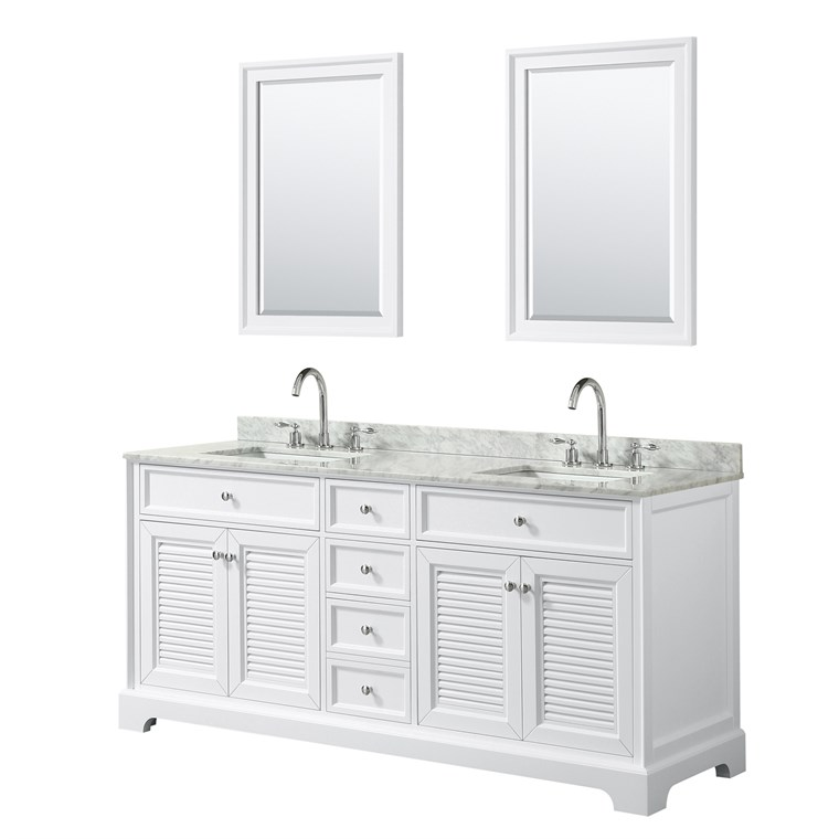 "Tamara 72"" Double Bathroom Vanity by Wyndham Collection - White WC-2121-72-DBL-VAN-WHT"