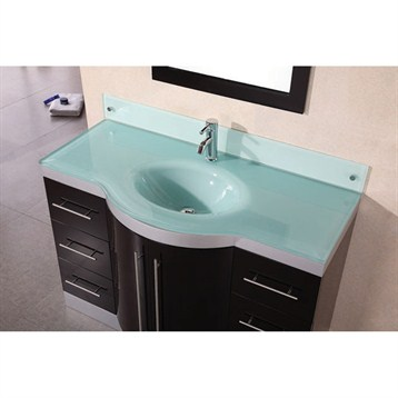Design element jade 48 single sink vanity set w tempered glass countertop espresso free for Glass bathroom sinks countertops