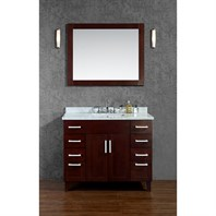 "Seacliff by Ariel Frampton 42"" Single Sink Vanity Set with Carrera White Marble Countertop - Walnut SCFRA42TWA"
