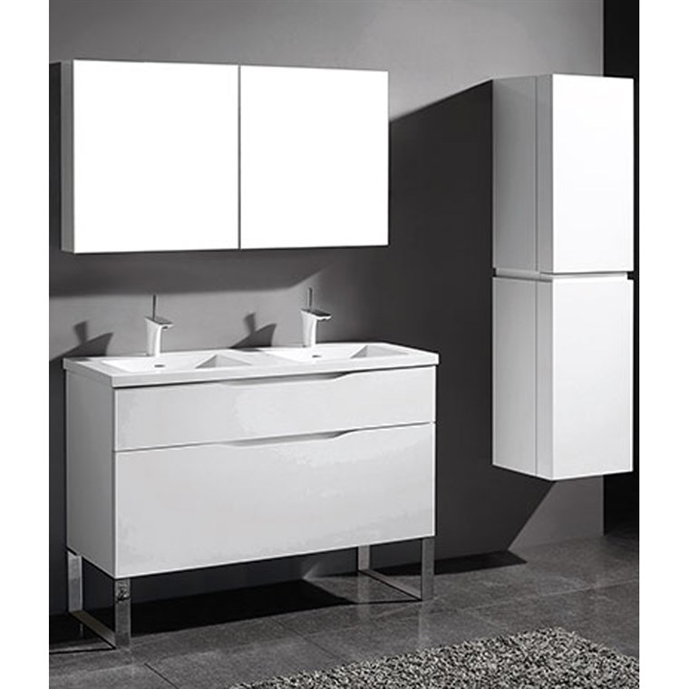 "Madeli Milano 48"" Double Bathroom Vanity for Integrated Basins - Glossy White B200-48D-021-GW"