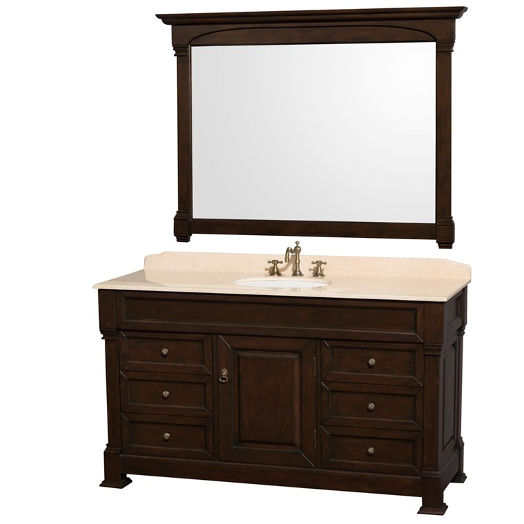 "Andover 60"" Traditional Bathroom Vanity Set by Wyndham Collection - Dark Cherry WC-TS60-DKCH"
