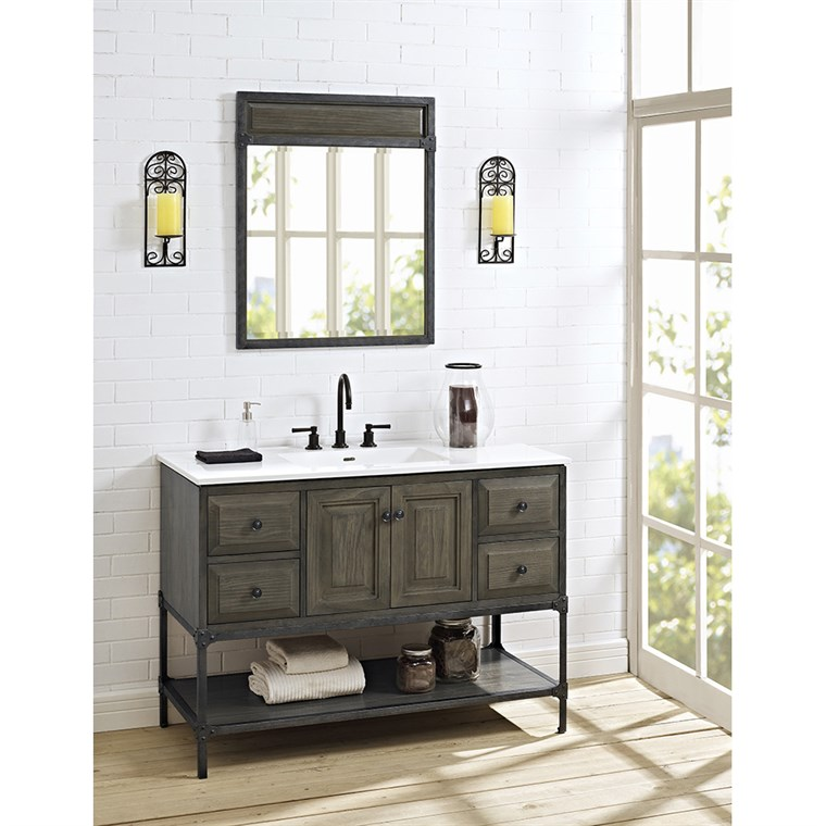"Fairmont Designs Toledo 48"" Vanity with Doors for Integrated Top - Driftwood Gray 1401-48-"