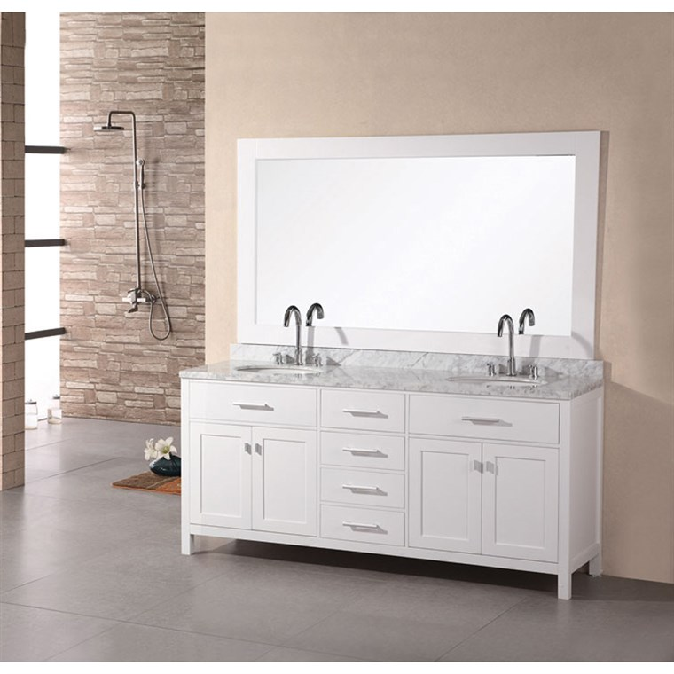 "Design Element London 72"" Double Bathroom Vanity with White Carrera Countertop, Sinks and Mirror - Pearl White DEC076B-W"