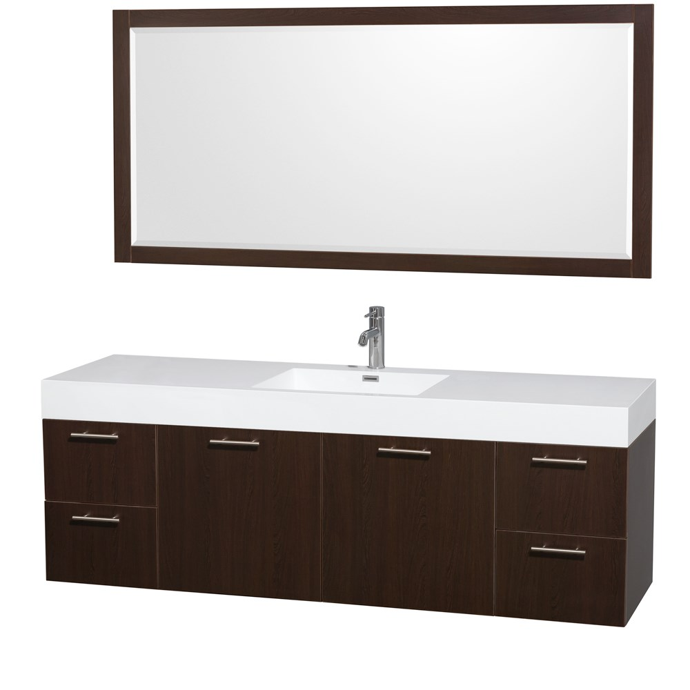 "Amare 72"" Single Bathroom Vanity in Espresso, Acrylic-Resin Countertop, Integrated Sink, and 70"" Mirror WCR410072SESARINTM70"