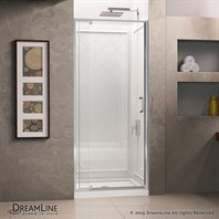 "DreamLine Flex 28-32"" Adjustable W x 32"" D x 76-3/4"" H Frameless Shower Door, Backwall and Base Kit, Chrome Finish Hardware DL-6217C-01CL"