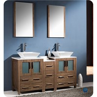 "Fresca Torino 60"" Walnut Brown Modern Double Sink Bathroom Vanity with Side Cabinet, Vessel Sinks, and Mirrors FVN62-241224WB-VSL"