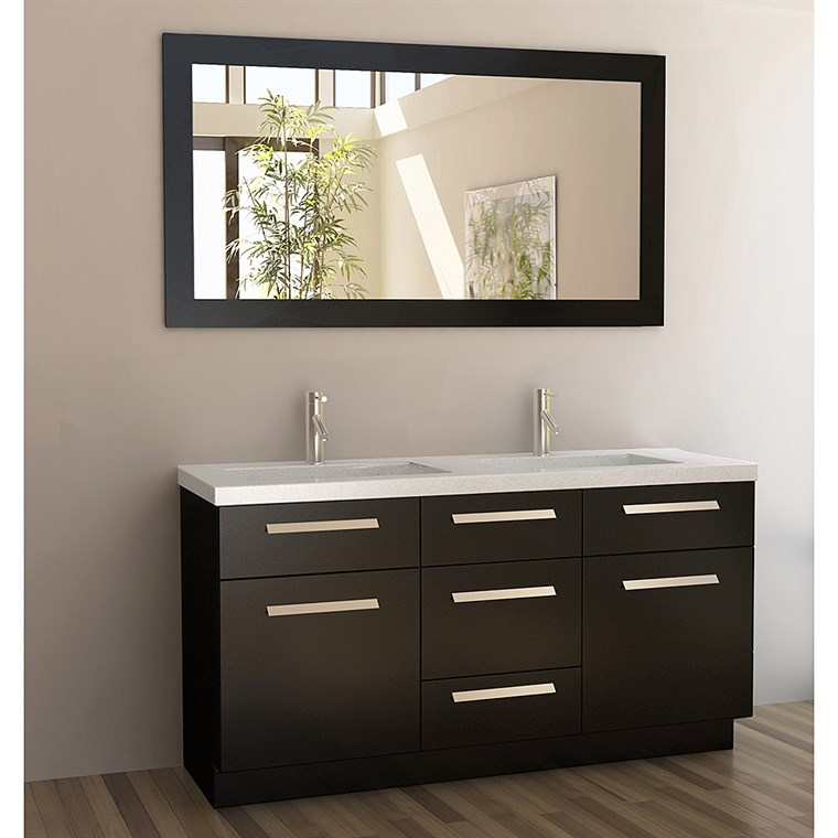 "Design Element Moscony 60"" Double Sink Vanity Set - Espresso J60-DS"