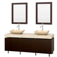"Malibu 72"" Double Bathroom Vanity Set by Wyndham Collection - Espresso Finish with Ivory Marble Counter WC-CG3000-72-ESP-IVO-"