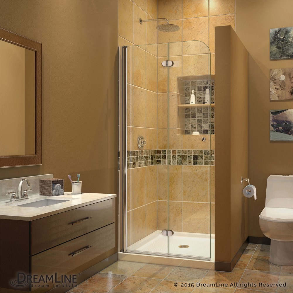 Bath Authority DreamLine AquaFold Shower Door 33.5 in. W x 72 in. H ...
