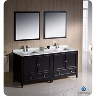 "Fresca Oxford 72"" Traditional Double Sink Bathroom Vanity - Espresso FVN20-3636ES"