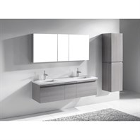 "Madeli Venasca 60"" Double Bathroom Vanity for Quartzstone Top - Ash Grey 2X-B990-24-002-AG, UC990-12-007-AG-QUARTZ"
