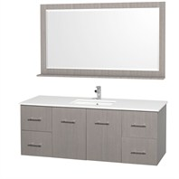 "Centra 60"" Single Bathroom Vanity Set by Wyndham Collection - Gray Oak WC-WHE009-60-SGL-GROAK"
