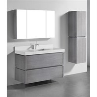 "Madeli Cube 48"" Single Wall-Mounted Bathroom Vanity for Quartzstone Top - Ash Grey B500-48C-002-AG-QUARTZ"