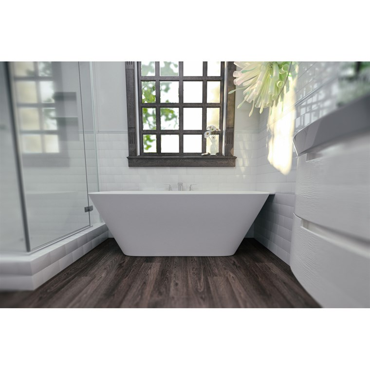 Aquatica Arabella-L-Wht Large Corner Solid Surface Bathtub - Matte White Aquatica Arab-L-Wht
