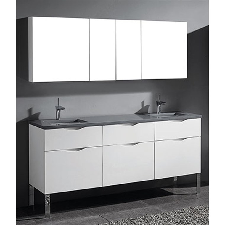 "Madeli Milano 72"" Double Bathroom Vanity for Quartzstone Top - Glossy White B200-72D-021-GW-QUARTZ"