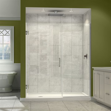"DreamLine Unidoor Plus 37"" to 45"" W x 72"" H Hinged Shower Door With Stationary Panel SHDR-244XX7210 by Bath Authority DreamLine"