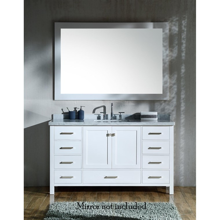 "Ariel Cambridge 61"" Single Sink Vanity with Rectangle Sink and Carrara White Marble Countertop - White A061SCWRVOWHT"
