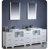 "Fresca Torino 84"" White Modern Double Sink Bathroom Vanity with 3 Side Cabinets, Integrated Sinks, and Mirrors FVN62-72WH-UNS"