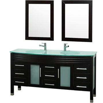 "Ashlyn 63"" Double Bathroom Vanity Set - Espresso"