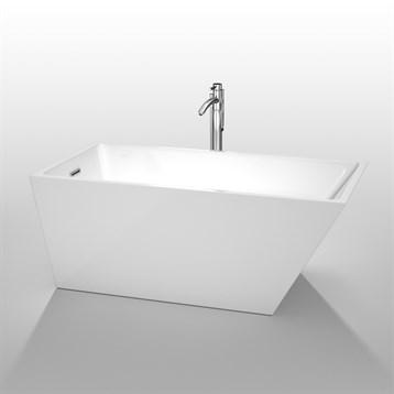 """Hannah 59"""" Soaking Bathtub by Wyndham Collection, White WC-BTK1501-59 by Wyndham Collection®"""