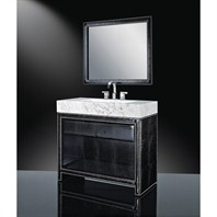 "Luxe Axel 40"" Single Bathroom Vanity with White Carrera Marble Counter and Integrated Sink - Faux Alligator B7039BV40-PB80"