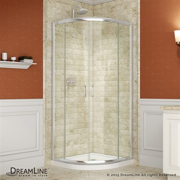 "Bath Authority DreamLine Prime Frameless Sliding Shower Enclosure, Base and QWALL-4 Shower Backwalls Kit, 31-3/8""... by Bath Authority DreamLine"