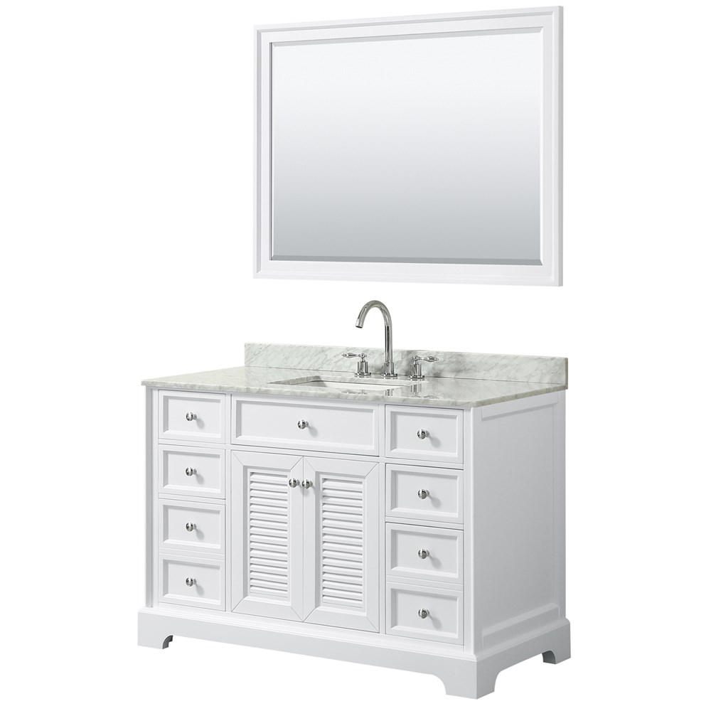 "Tamara 48"" Single Bathroom Vanity by Wyndham Collection - White WC-2121-48-SGL-VAN-WHT"