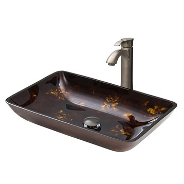 Vigo Rectangular Brown and Gold Fusion Glass Vessel Sink and Otis Faucet Set in Brushed Nickel VGT309 by Vigo Industries