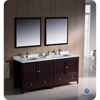 "Fresca Oxford 72"" Traditional Double Sink Bathroom Vanity - Mahogany FVN20-3636MH"