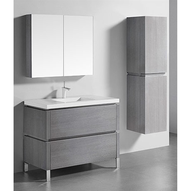 "Madeli Metro 42"" Bathroom Vanity for Integrated Basin - Ash Grey B600-42-001-AG"