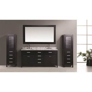 Design Element London 72 Double Vanity Set With 2 Linen Cabinets Espresso Free Shipping