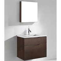 "Madeli Bolano 30"" Bathroom Vanity for Quartzstone Top - Walnut B100-30-022-WA-QUARTZ"