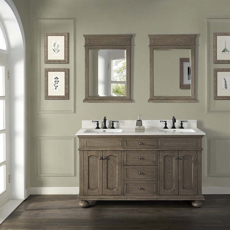 "Fairmont Designs Oakhurst 60"" Double Bowl Vanity - Antique Grey 1535-V6021D"