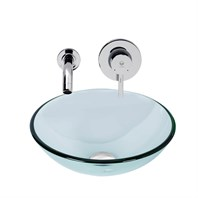 VIGO Crystalline Glass Vessel Sink and Olus Wall Mount Faucet Set in a Chrome Finish VGT898