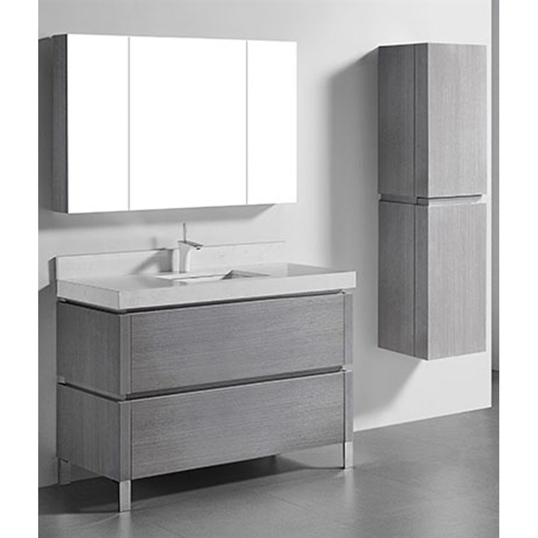 "Madeli Metro 48"" Single Bathroom Vanity for Quartzstone Top - Ash Grey B600-48C-001-AG-QUARTZ"