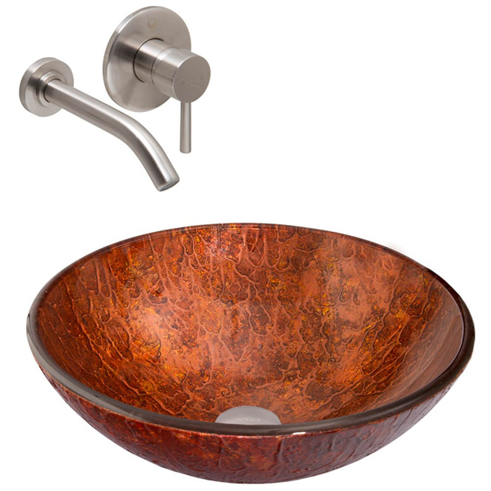 Vigo Mahogany Moon Glass Vessel Sink And Olus Wall Mount Faucet Set In Brushed Nickel