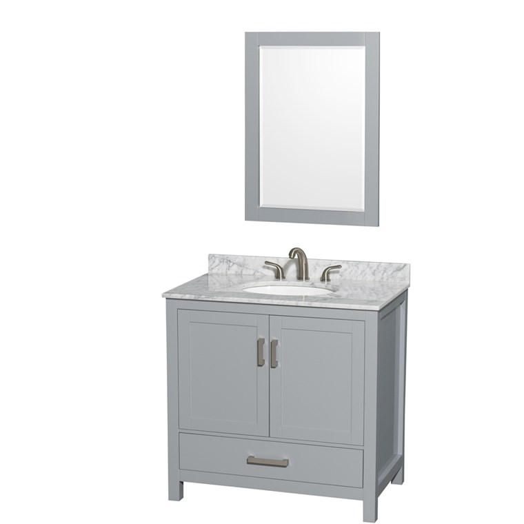 "Sheffield 36"" Single Bathroom Vanity by Wyndham Collection - Gray WC-1414-36-SGL-VAN-GRY"