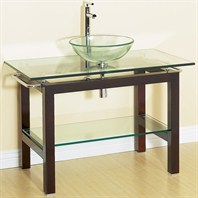 "Geneva 44"" Bathroom Vanity with Glass Countertop"