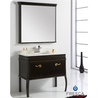 "Fresca Platinum London 40"" Antique Black Bathroom Vanity with Swarovski Handles FPVN7526AB"