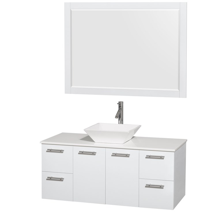 "Amare 48"" Wall-Mounted Bathroom Vanity Set with Vessel Sink by Wyndham Collection - Glossy White WC-R4100-48-WHT"
