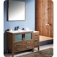 "Fresca Torino 48"" Walnut Brown Modern Bathroom Vanity with Side Cabinet & Integrated Sinks FVN62-3612WB-UNS"