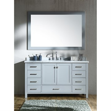 """Ariel Cambridge 61"""" Single Sink Vanity Set With Rectangle Sink And Carrara White Marble Countertop - Grey"""