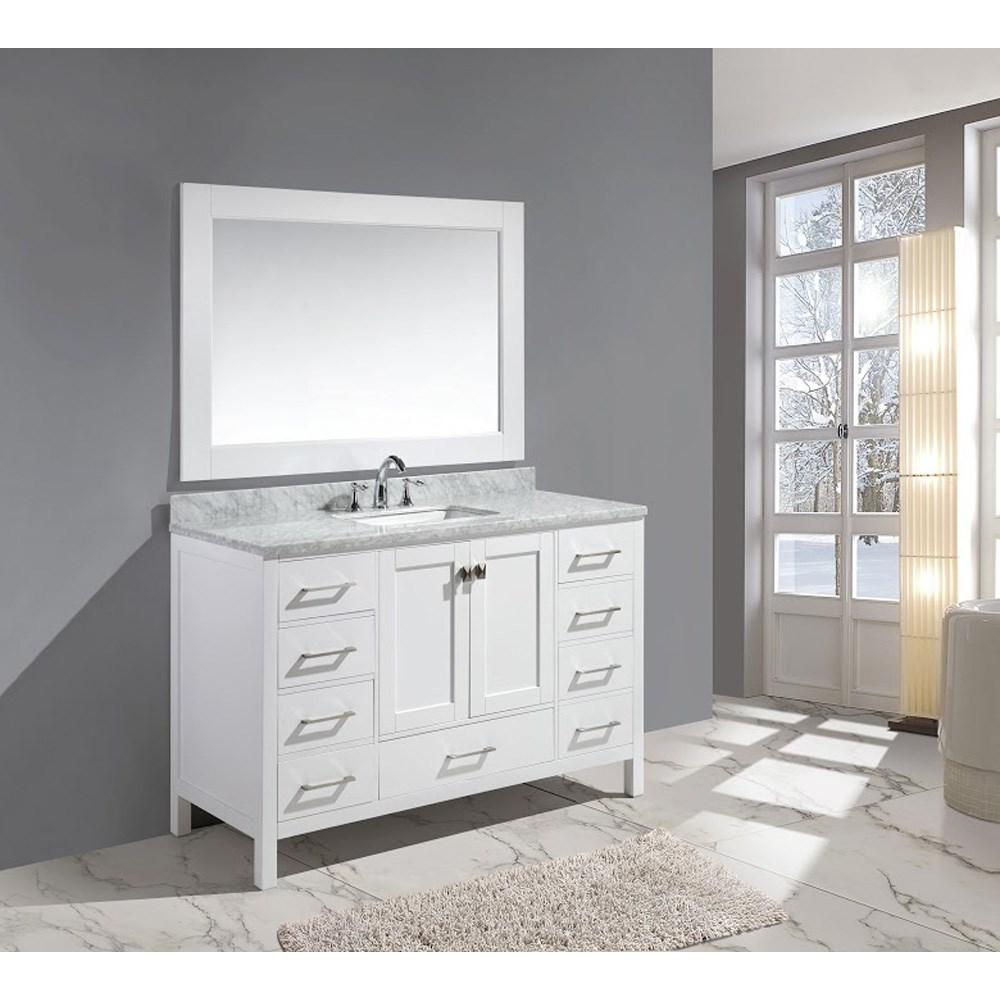 "Design Element London 54"" Single Sink Vanity Set - Whitenohtin Sale $1499.00 SKU: DEC082D-W :"