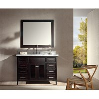 "Ariel Kensington 49"" Single Sink Vanity Set with Carrera White Marble Countertop - Espresso D049S-ESP"