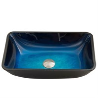 VIGO Rectangular Turquoise Water Glass Vessel Sink VG07068