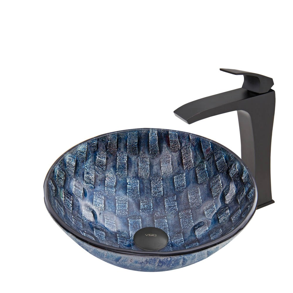 VIGO Rio Glass Vessel Sink and Blackstonian Faucet Set in Matte Blacknohtin Sale $255.90 SKU: VGT849 :